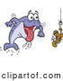Vector of a Excited Cartoon Male Fish Rushing Towards a Female Worm on a Hook by LaffToon