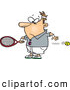 Vector of a Fast Cartoon Tennis Ball Flying by Slow Reacting Male Player by Toonaday