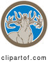 Vector of a Fearless Howling Buck Deer in a Brown White and Blue Circle by Patrimonio