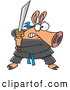 Vector of a Fierce Cartoon Ninja Pig with Sword by Ron Leishman