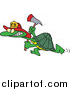 Vector of a Fire Fighter Tortoise Carrying an Axe by Toonaday