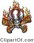 Vector of a Flaming Baseball Skull Chewing on Bats by Chromaco