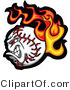 Vector of a Flaming Fast Baseball Cartoon Character by Chromaco