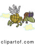 Vector of a Flying Cartoon Turtle Wearing Pilot Goggles and a Set of Wings Attached to His Shell by Toonaday