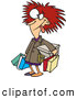 Vector of a Frazzled Cartoon Shopper Woman Carrying Shopping Bags by Ron Leishman