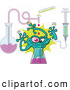 Vector of a Freaky Cartoon Mutant Creature Being Born from a Test Tube in a Science Lab by Zooco