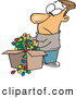 Vector of a Frowning Cartoon Man Pulling out Tangled Wires with Christmas Lights from a Storage Box by Ron Leishman