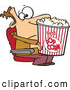 Vector of a Frustrated Cartoon Man Trying to Watch a Move over His Oversized Bucket of Popcorn at a Theatre by Toonaday