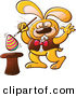 Vector of a Funny Bunny Making an Easter Egg Float out of a Magical Hat by Zooco