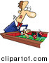 Vector of a Gambling Man Playing Craps Table - Cartoon Design by Toonaday