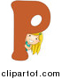 Vector of a Girl Beside Alphabet Letter P by BNP Design Studio