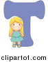 Vector of a Girl Beside Alphabet Letter T by BNP Design Studio