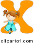 Vector of a Girl Beside Alphabet Letter X by BNP Design Studio