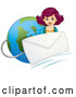 Vector of a Girl Beside an Email Envelope over Earth by Graphics RF