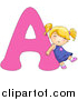 Vector of a Girl Leaning on Alphabet Letter a by BNP Design Studio