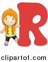 Vector of a Girl Touching Alphabet Letter R by BNP Design Studio