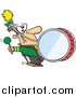 Vector of a Goofy Marching Band Drummer Man Banging a Drum - Cartoon Style by Ron Leishman