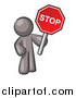Vector of a Gray Man Holding a Red Stop Sign by Leo Blanchette