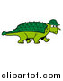 Vector of a Green Armored Dinosaur with a Spiked Back Plate, Wearing a Hat by LaffToon