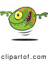 Vector of a Green Bouncing Cartoon Cyclops Monster Ball Smiling with Sharp Teeth by Toonaday