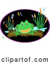Vector of a Green Frog Perched on a Log near a Pond with Dragonflies and Plants at Night by