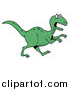 Vector of a Green T-Rex Dinosaur in Profile, Running to the Right by LaffToon