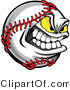 Vector of a Grinning Cartoon Baseball Mascot with Yellow Glowing Eyes by Chromaco