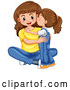 Vector of a Happy Baby Girl Kissing Her Mom on the Cheek by Graphics RF