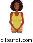 Vector of a Happy Black Lady with a Square Figure by BNP Design Studio