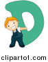 Vector of a Happy Boy Beside Alphabet Letter D by BNP Design Studio
