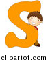 Vector of a Happy Boy Beside Alphabet Letter S by BNP Design Studio