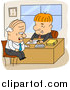 Vector of a Happy Business Men Going over Legal Documents in an Office - Cartoon Style by BNP Design Studio