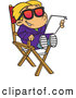 Vector of a Happy Cartoon Actor Kid Reading His Script While Sitting in the Director's Chair and Smiling by Toonaday