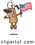 Vector of a Happy Cartoon American Dog Jumping up and down with an American Flag by Ron Leishman
