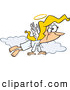 Vector of a Happy Cartoon Angel Flying in the Clouds with a Gold Halo by Toonaday