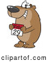 Vector of a Happy Cartoon Bear Holding a February 29th Calendar Day - National Leap Day by Ron Leishman