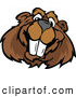 Vector of a Happy Cartoon Beaver Mascot Smiling by Chromaco