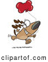 Vector of a Happy Cartoon Birthday Dog Running with a Red Dog Bone Shaped Balloon by Ron Leishman