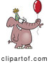 Vector of a Happy Cartoon Birthday Elephant with a Red Balloon by Toonaday