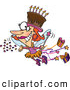 Vector of a Happy Cartoon Birthday Fairy Lady Flying Around with a Chocolate Cake on Her Head by Ron Leishman
