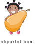Vector of a Happy Cartoon Black Girl Holding a Big Pear While Smiling by BNP Design Studio