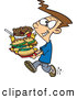 Vector of a Happy Cartoon Boy Carrying a Tray Full of Fast Food Burgers, Fries, and Drinks by Toonaday