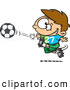 Vector of a Happy Cartoon Boy Kicking a Soccer Ball by Ron Leishman