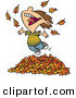Vector of a Happy Cartoon Boy Playing in a Pile of Raked Autumn Leaves by Toonaday