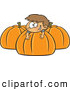 Vector of a Happy Cartoon Boy Playing on Big Pumpkins by Ron Leishman