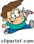 Vector of a Happy Cartoon Boy Running and Playing with a Toy Jet Airplane by Ron Leishman