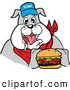 Vector of a Happy Cartoon Bulldog Mascot Eating a Tasty Cheeseburger by LaffToon