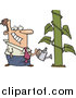 Vector of a Happy Cartoon Caucasian Businessman Watering a Monstrous Plant Showing Business Growth by Toonaday