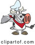 Vector of a Happy Cartoon Chef Cow Holding a Cloche Platter by Toonaday