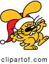 Vector of a Happy Cartoon Christmas Bunny Wearing Santa Hat While Dancing by Zooco